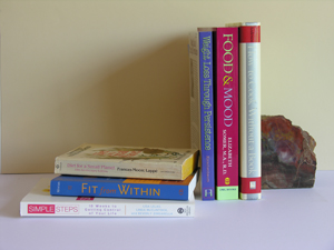 diet books stack bookend